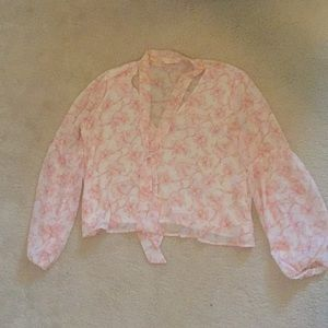 Balloon Sleeve Floral Blouse W/ Tie